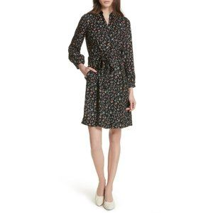 100% Silk Rebecca Taylor Floral Vine Shirt Dress 4